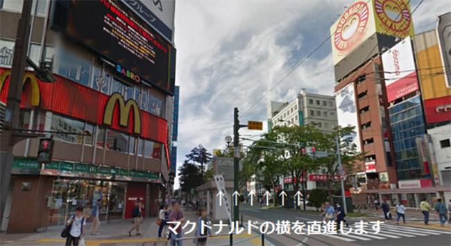 マクドナルド札幌すすきの店とCOCO壱番屋中央区すすきの店の間の通りを直進
