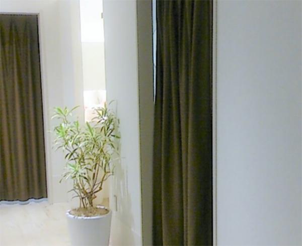 入口がカーテンで仕切られた、こちらの個室で施術をおこないます。