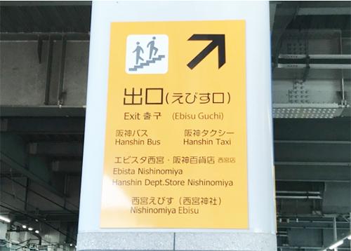 阪神西宮駅えびす口から出ます