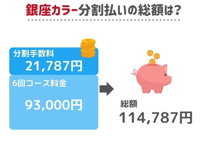 銀座カラー月額3,000円の総額
