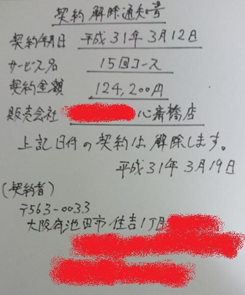 クーリングオフでクレジットカード会社に送る契約解除通知書(ハガキ)の記載例