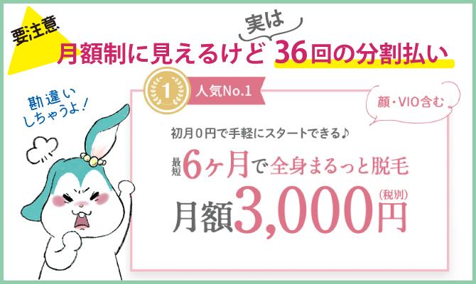 全身脱毛月額3,000円&初月0円