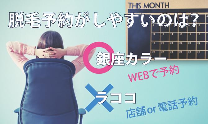 銀座カラーとラココ(LACOCO) WEBで脱毛予約が確定するのは銀座カラー