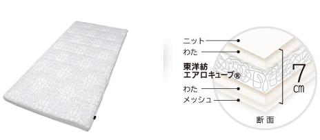 エアリー敷布団ASFは、5cmのエアロキューブ®を使用した厚さ7cmの敷布団